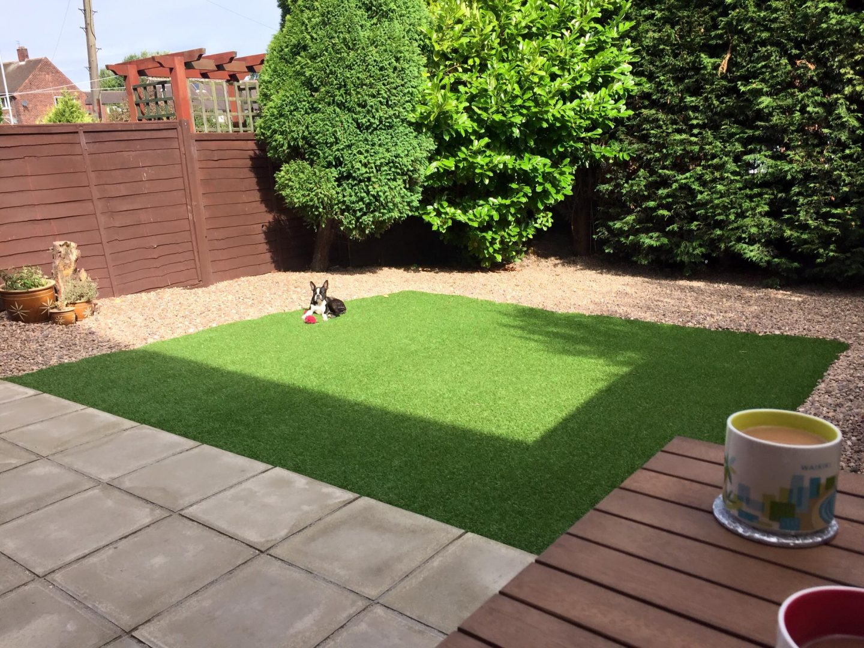 The green, green artificial grass of home